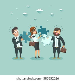 Business teamwork concept. Group of business people holding puzzle pieces  Vector illustration.