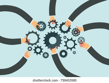 Business teamwork concept. Group of business people hands holding cog wheels. Vector illustration.