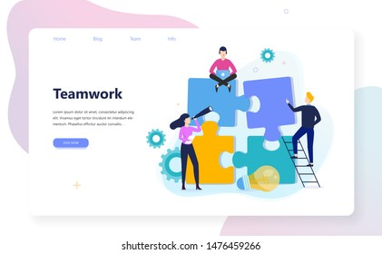Business teamwork concept. Idea of partnership and cooperation. Connection and communication, unity and solution. Isolated flat vector illustration