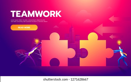 Business teamwork concept. Two businessmen connecting puzzle elements. Vector illustration flat style design metaphor. Combining two pieces. Symbol of working together, cooperation, partnership