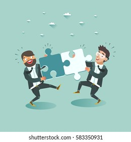 Business teamwork concept. Two businessmen pushing puzzle pieces together.  Vector illustration.