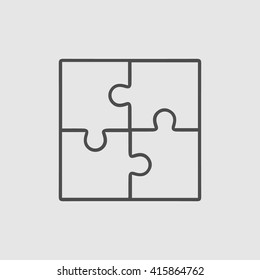 Business teamwork cooperation partnership vector icon. Puzzle simple isolated sign.