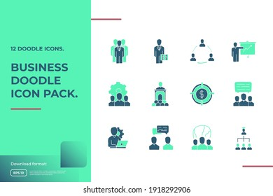 business teamwork doodle icon. business partnership strategy and leadership management concept sign symbol vector illustration