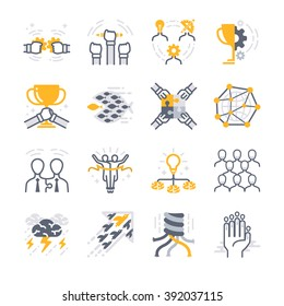 Business Teamwork icons. Included the icons as team, success, cooperate, sync, share, friendship and more.