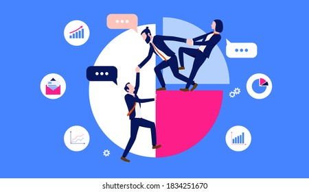 Business teamwork illustration - Businesspeople working together and giving a helping hand on pie chart with business icons in background. Vector format.