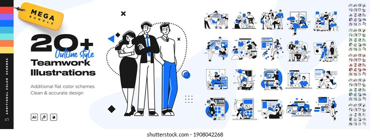 Business Teamwork illustrations. Mega set. Collection of scenes with men and women taking part in business activities. Trendy vector style - Shutterstock ID 1908042268