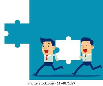 Business teamwork and Jigsaw. Concept business vector illustration, Achievement, Successful.