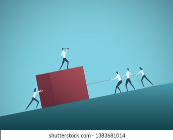 Business teamwork and leader vector concept with businessmen and women pulling cube uphill. Symbol of leadership, motivation, ambition, team effort, growtha and success. Eps10 illustration.