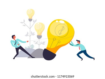 Business teamwork of people pulling lightbulb together vector