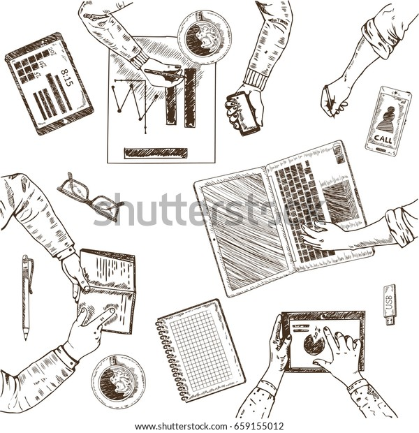 Business teamwork sketch concept with working people different office elements and objects isolated vector illustration