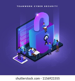 Business teamwork of small peoples working concept cyber security data and computer. Vector isometricillustrations.