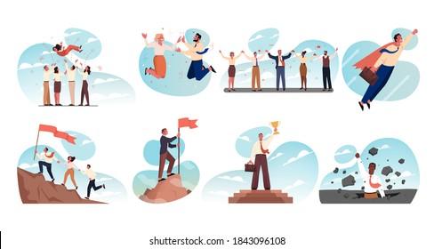 Business, teamwork, success, startup, goal achievement, leadership, celebration, win set concept