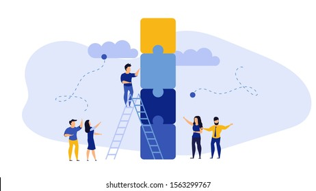 Business teamwork team vector concept illustration idea work. Success corporate background design cooperation partnership banner. Collaboration company group. Building puzzle connection unity page.