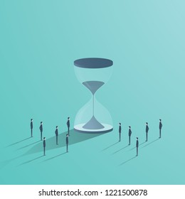 Business teamwork and time vector concept. Businessmen standing around hourglass, symbol of deadline, project management. Eps10 vector illustration.