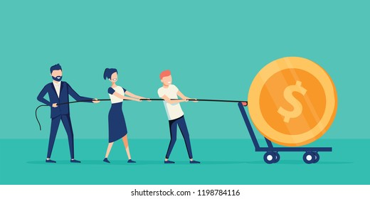 Business teamwork together pulling rope for getting profit. Cooperation work with leader. Coworking concept with business people earning huge dollar coin. Project management effort. Sales management