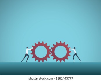 Business teamwork vector concept with businessman and businesswoman pushing gears together. Symbol of cooperation, collaboration, technology, success. Eps10 vector illustration.