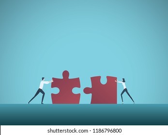 Business teamwork vector concept with businessman and businesswoman pushing jigsaw puzzles together. Symbol of cooperation, collaboration, technology, success. Eps10 vector illustration.
