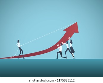 Business teamwork vector concept. Business people working together to achieve success. Symbol of cooperation, challenge, growth. Eps10 vector illustration.