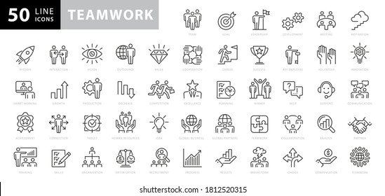 Business teamwork, work group, team building, and human resources line web icon set. Outline icons collection. Vector illustration