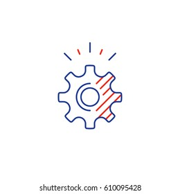 Business technology development, technical support gear wheel, vector mono line icon