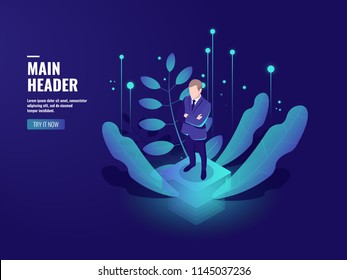Business technology, online banking icon, cryptocurrency, businessman stay on platform, server room, future office, server room, isometric people illustration vector neon dark