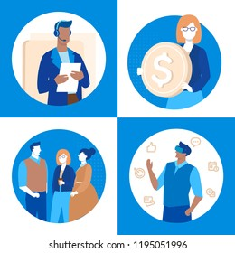 Business and technology - set of flat design style illustrations. Woman holding a coin, man in VR headset, colleagues, call center operator. Virtual reality, teamwork, technical support concepts