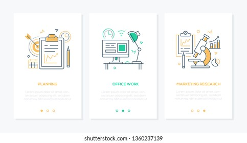 Business and technology - set of line design style vertical web banners with copy space for text. Images of a clipboard, workplace with computer, microscope. Planning, office work, marketing research
