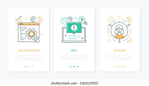Business and technology - set of line design style vertical web banners with copy space for text. Images of page, laptop with popup window, girl using internet. SEO optimization, info, network themes