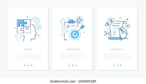 Business and technology - set of line design style vertical web banners with copy space for text. Images of a head, clipboard with check list, arrow, document. Puzzle, targeting, contract concepts