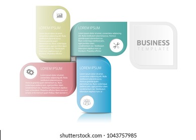 Business template with 4 section info steps, options or processes. Can be used for timeline, workflow, research, strategy.