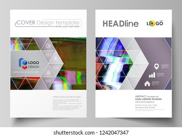 Business template for brochure, flyer, report. Cover design, abstract vector layout in A4 size. Glitched background made of colorful pixel mosaic. Digital decay, signal error, television fail