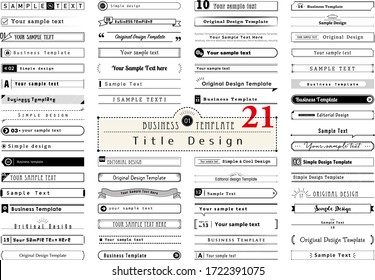 Business template. Title Design Collection.