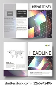 Business templates for bi fold brochure, magazine, flyer, booklet, report. Cover template, abstract vector layout in A4 size. Retro style, mystical Sci-Fi background. Futuristic trendy design.