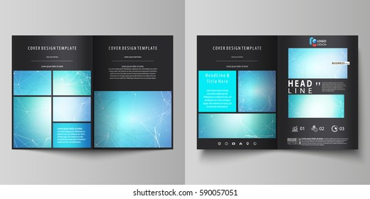 Business templates for bi fold brochure, flyer. Cover design template, vector layouts, A4 size. Chemistry pattern, connecting lines and dots, molecule structure, medical DNA research. Medicine concept