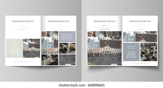 Business templates for bi fold brochure, magazine, flyer, report. Cover design template, abstract vector layout in A4 size. Background made of dotted texture for travel business, urban cityscape.