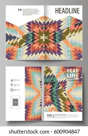 Business templates for bi fold brochure, flyer, booklet, report. Cover design template, abstract vector layout in A4 size. Tribal pattern, geometrical ornament in ethno syle, ethnic hipster background