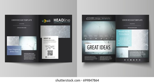 Business templates for bi fold brochure, flyer, report. Cover design template, vector flat layout in A4 size. Chemistry pattern, connecting lines and dots, molecule structure, medical DNA research.