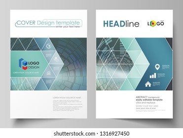Business templates for brochure, flyer, booklet or report. Cover design template, easy editable vector, abstract flat layout in A4 size. Technology background in geometric style made from circles.