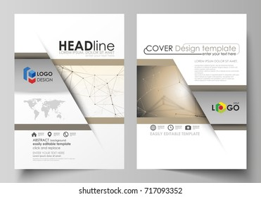 Business templates for brochure, flyer, booklet, report. Cover design template, vector layout in A4 size. Technology, science, medical concept. Golden dots and lines, digital style. Lines plexus