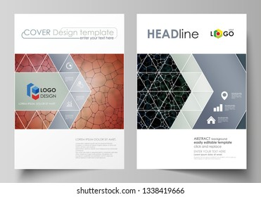 Business templates for brochure, flyer, report. Cover design template, vector layout in A4 size. Chemistry pattern, molecular texture, polygonal molecule structure, cell. Medicine microbiology concept