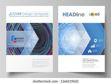 Business templates for brochure, magazine, flyer, booklet or report. Cover design template, abstract vector layout in A4 size. Blue color background in minimalist style made from colorful circles.