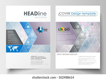 Business templates for brochure, magazine, flyer, booklet. Cover design template, abstract flat layout in A4 size. Molecule structure on blue background. Science, healthcare, medical vector.
