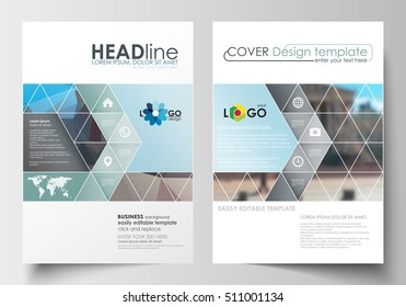 Business templates for brochure, magazine, flyer, booklet or annual report. Cover design template, flat layout in A4 size. Abstract background, blurred image, urban landscape, modern stylish vector.