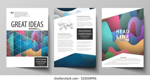 Business templates for brochure, magazine, flyer, booklet or annual report. Cover design template, flat vector layout in A4 size. Colorful pattern with overlapping shapes forming abstract background.