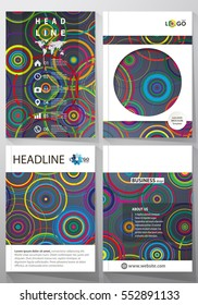 Business templates for brochure, magazine, flyer, booklet, report. Cover design template, abstract vector layout in A4 size. Bright color background in minimalist style made from colorful circles.