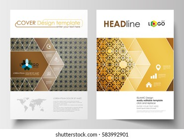 Business templates for brochure, magazine, flyer. Cover design template, flat layout in A4 size. Islamic gold pattern, overlapping geometric shapes forming abstract ornament. Vector golden texture