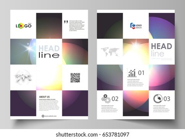 Business templates for brochure, magazine, flyer, booklet or annual report. Cover template, abstract vector layout in A4 size. Retro style, mystical Sci-Fi background. Futuristic trendy design