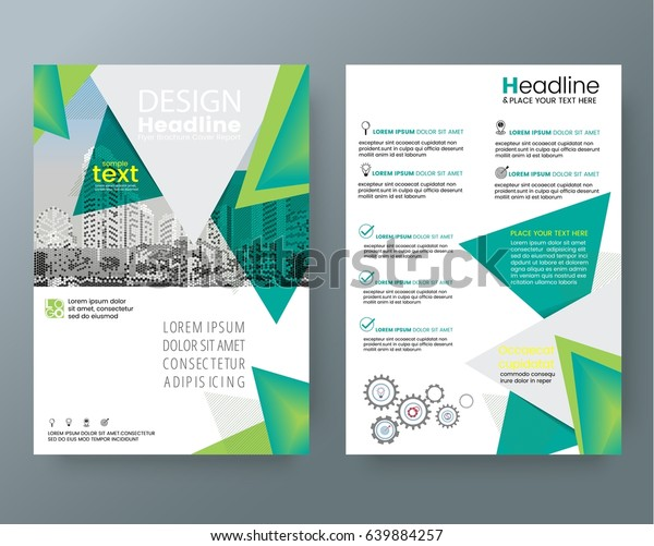 business templates creative design abstract green triangle brochure annual report cover flyer poster design layout