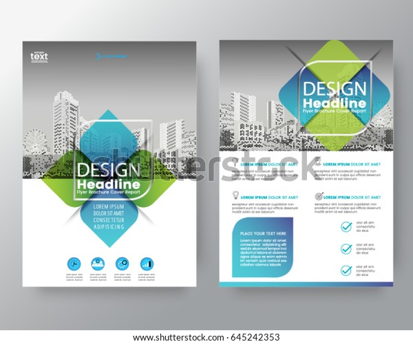 business templates creative design abstract green and blue cross graphic element vector brochure cover flyer