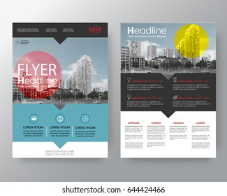 Business templates creative design : Set of brochure,poster flyer pamphlet brochure cover design layout with circle shape graphic elements and space for photo background,  vector template in A4 size